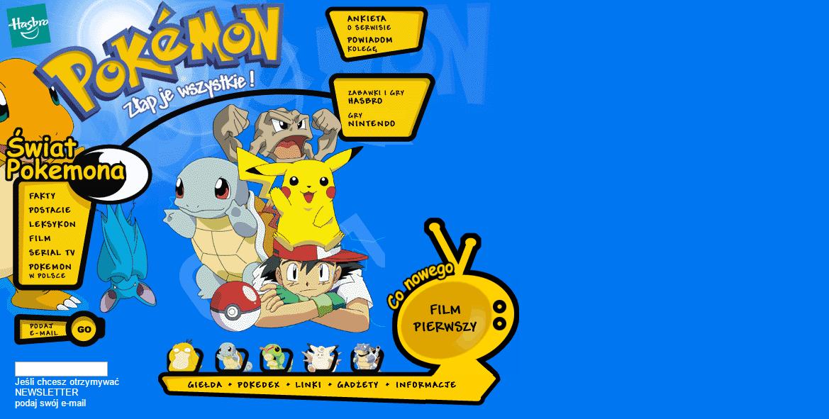 Tak wyglądała oficjalna polska strona Pokémon - Stworki.com.pl