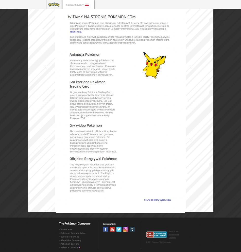 Oficjalna polska strona Pokémon – Pokemon.com/PL