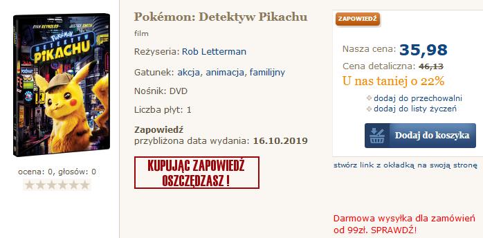 Detektyw Pikachu na DVD i Blu-Ray